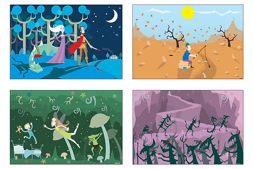 Genesis - 'And Then There WereFour' Set of 4 A4 illustrations.
