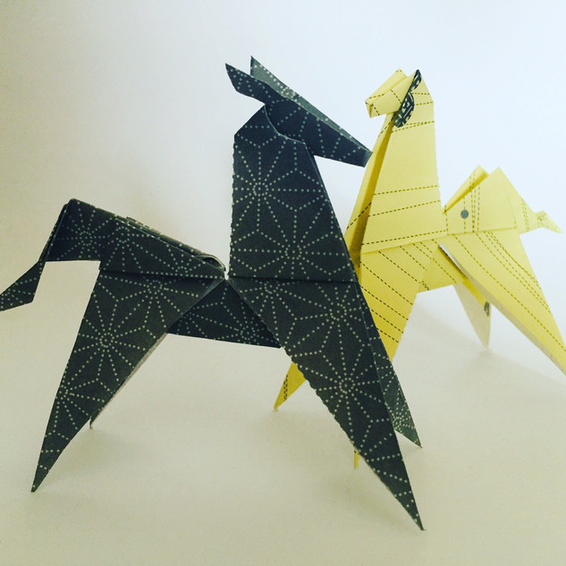 Two horses. Made using 2 slightly different methods. I'm just happy they stand up unaided.