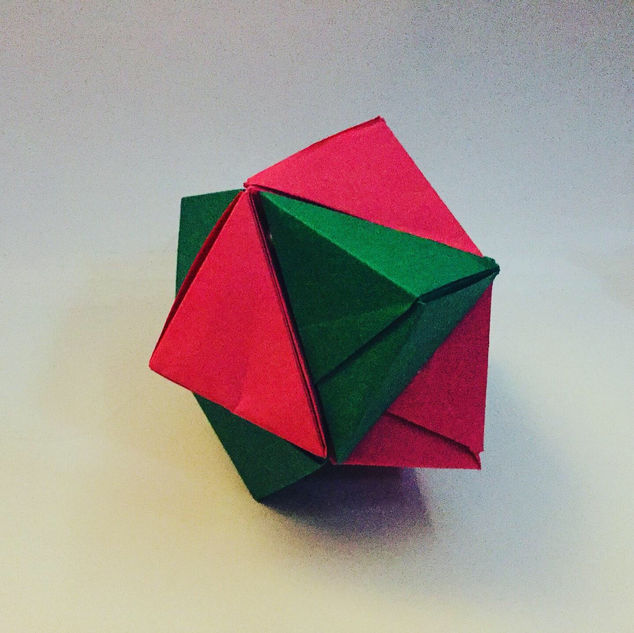A Stellated Octohedron ( Jeremy Schafer ). I think that means it is star-shaped, and has 8 points. Also called ( so I am told ) a 'Stella Octangula'.