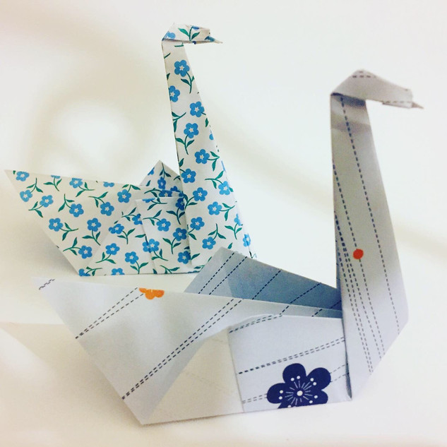 Two swans. Made using slightly different methods.