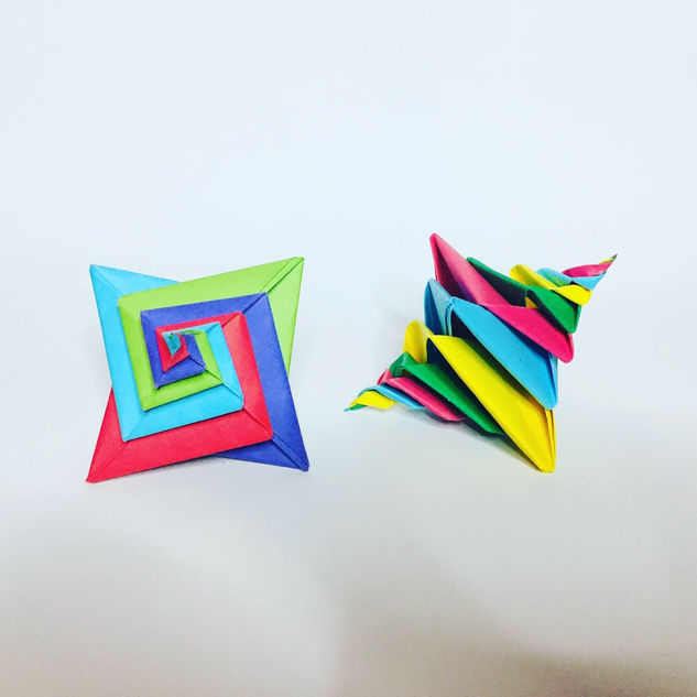 Origami spirals. Quite easy to make, but they look pretty cool.