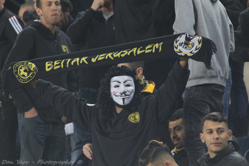 sports photography, Beitar, Fans, Mask ,Purim