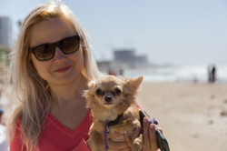 Blond woman and her dog