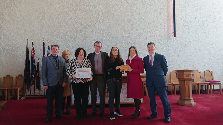 Presentation of our Eco Congregation award in Feb 2020 by Carol Monaghan, MP.