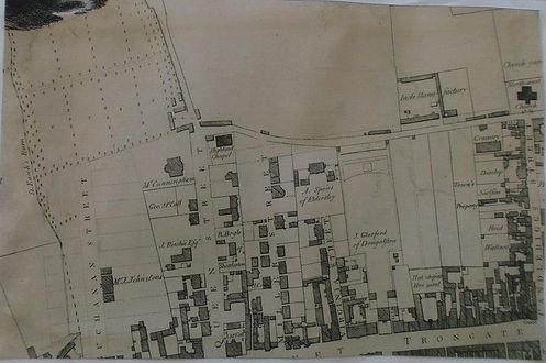 map of Glasgow with original church