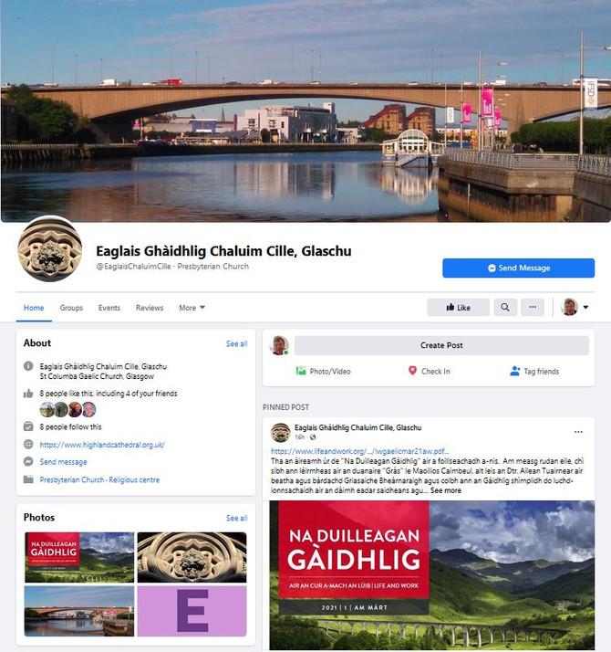 """Duilleag ùr Facebook - """"Eaglais Ghàidhlig Chaluim Cille, Glaschu"""""""