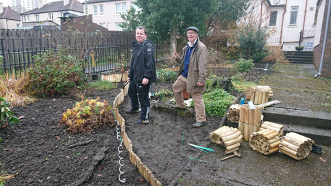Making a new path for our sensory garden.