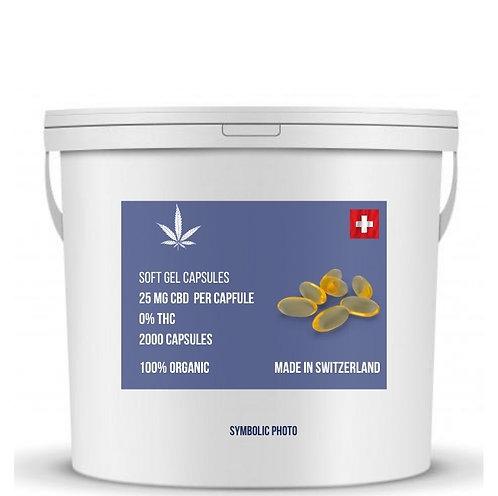 น้ำมันซีบีดีบรรจุแคปซูล CBD 25 มิลลิกรัมต่อแคปซูล THC 0% (ขั้นต่ำ 2000 แคปซูล)