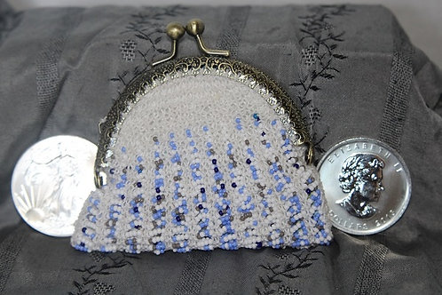 Blue and White Large Beaded Coin Purse