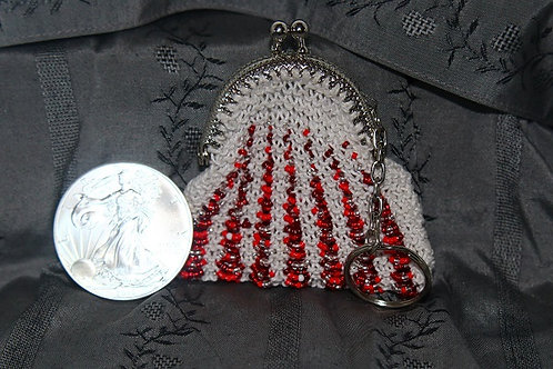 White and Red Small Coin Purse
