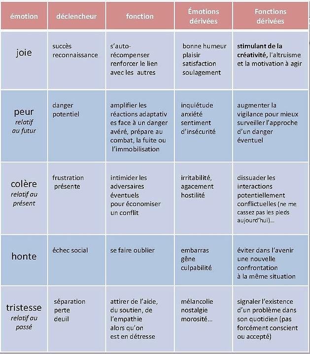 émotions fondamentales fonction et rôle