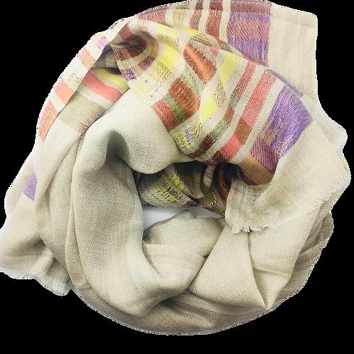 Liivakarva kašmiirsall  värviliste triipudega