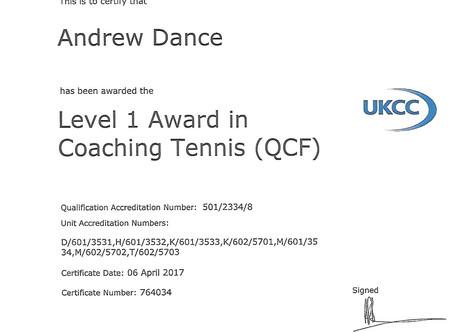 Andy Dance - LTA LVL 1 Coach