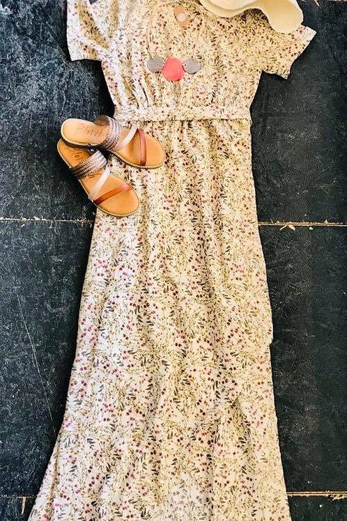 Flowered, floor length dress