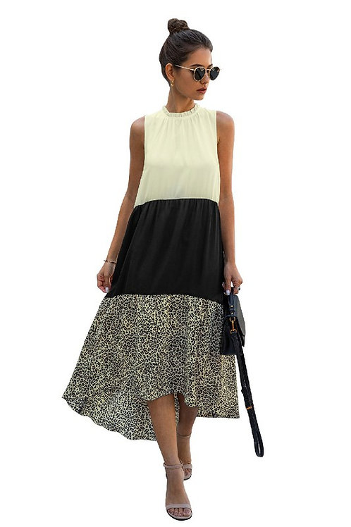 Black animal print with a high neck