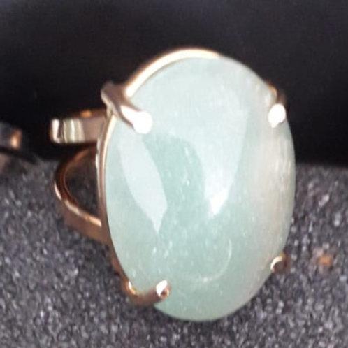 Anel de Quartzo Verde Banhado a Ouro