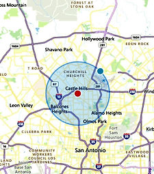 A map of San Antonio Texas.