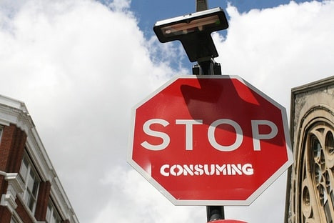 Stop consuming street sign