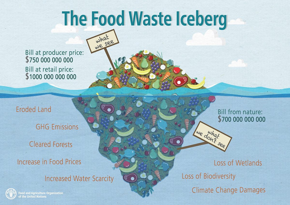 Food waste iceberg. The environmental impacts that we dont see from our food system