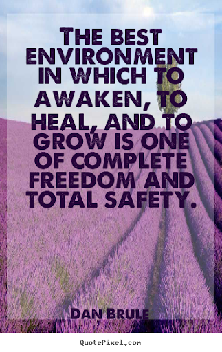 """The best environment in which to awaken, to heal, and to grown is one of complete freedom and total safety"" - Dan Brule environmental quotes make a difference organics"