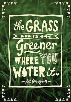 """The grass is greener where you water it"" - Niel Barringham Eco friendly quotes Mad Organics"