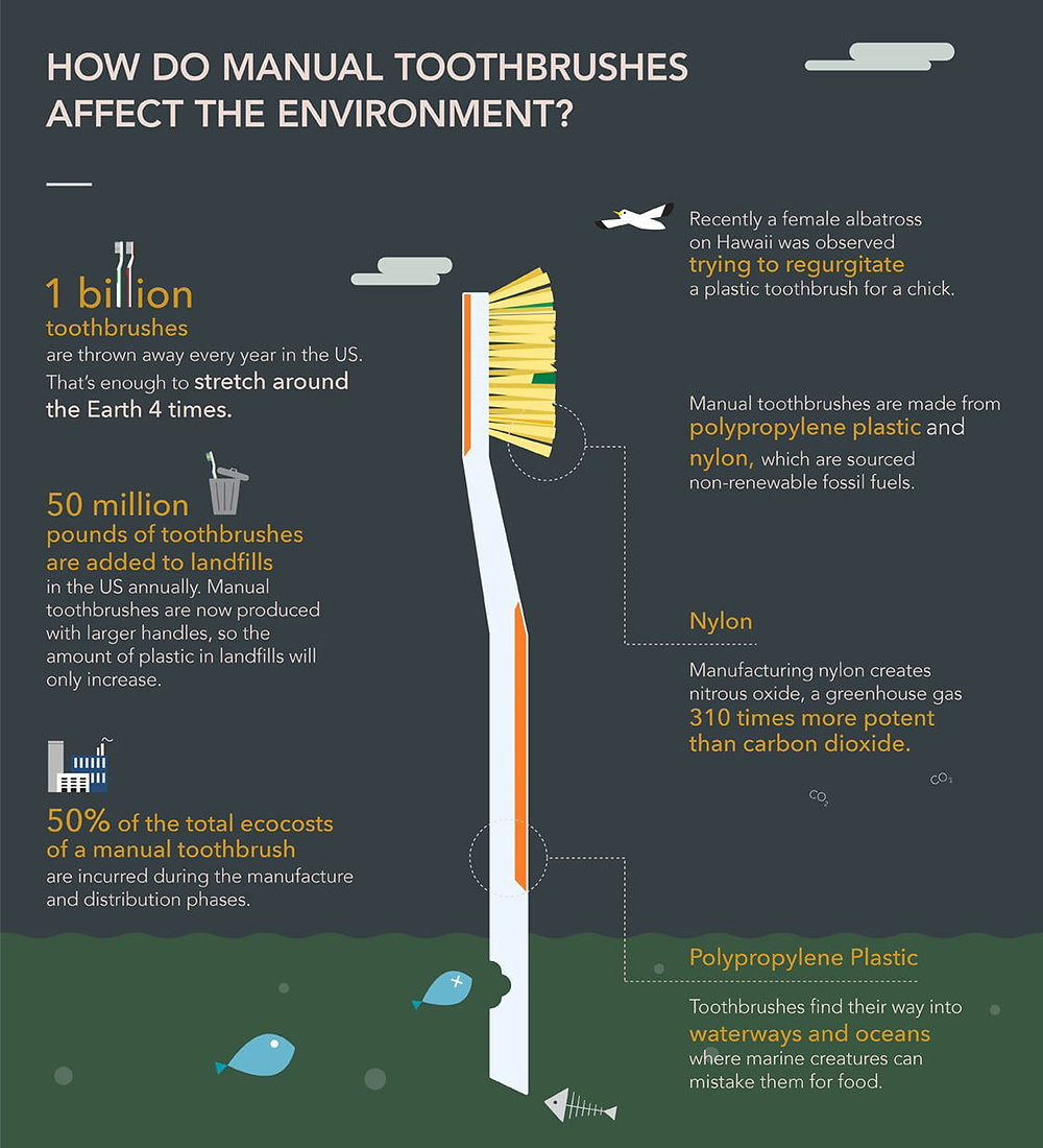 Environmental effects of toothbrushes infographic