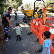 Trip to the roadworks just in front of our nursery.