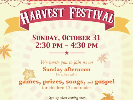 10/31 Harvest Festival (Children)