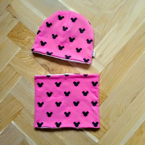 Set čepice a nákrčníku mickey pink