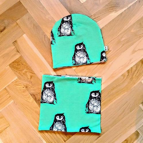 Set čepice a nákrčníku tučňáci