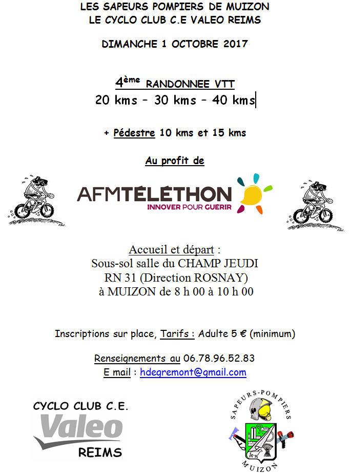 LES SAPEURS POMPIERS DE MUIZON LE CYCLO CLUB C.E VALEO REIMS  DIMANCHE 1 OCTOBRE 2017   4ème RANDONNEE VTT 20 kms – 30 kms – 40 kms