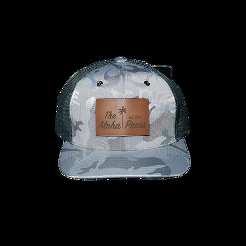 Silver Camo Trucker Snap Back Hat