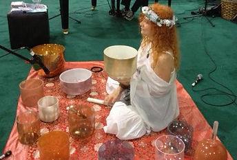 Photo of Beloved and her Gemstone Alchemy Crystal Singing Bowls
