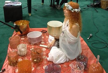 Photo of Beloved and her Gemstone Alchemy Crystal Singing Bowls