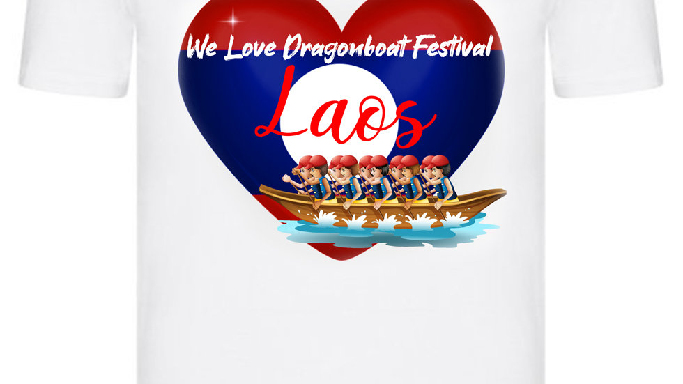 We Love Dragonboat Festival Laos T-shirt Red Hats
