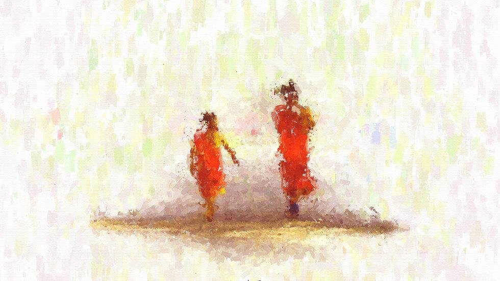 Walking to Prayers 001 Painting