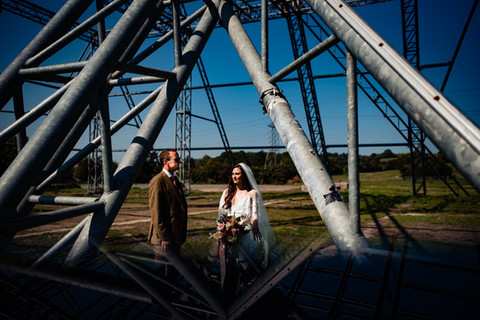 Couple under a metal structure