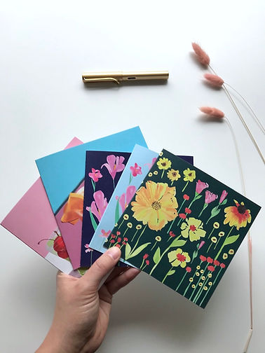 Set of 5 colourful square greeting cards