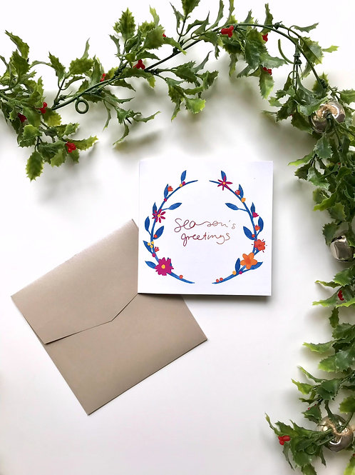 Blue Flower Wreath Season's Greetings Card