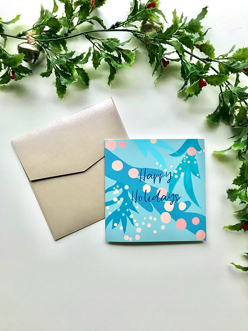 Light Blue & Coral Happy Holidays Card