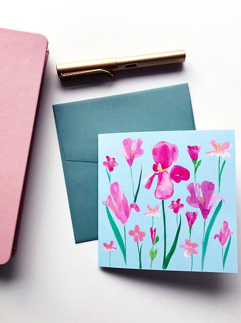 Pink Iris Greeting Card Light Blue