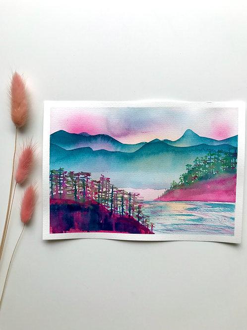 Two Mornings (Teal) Original Painting