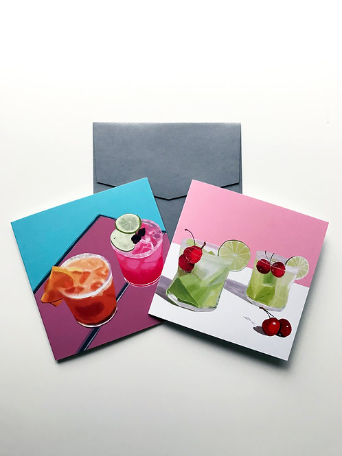 Set of 2 Cocktail Time greeting cards