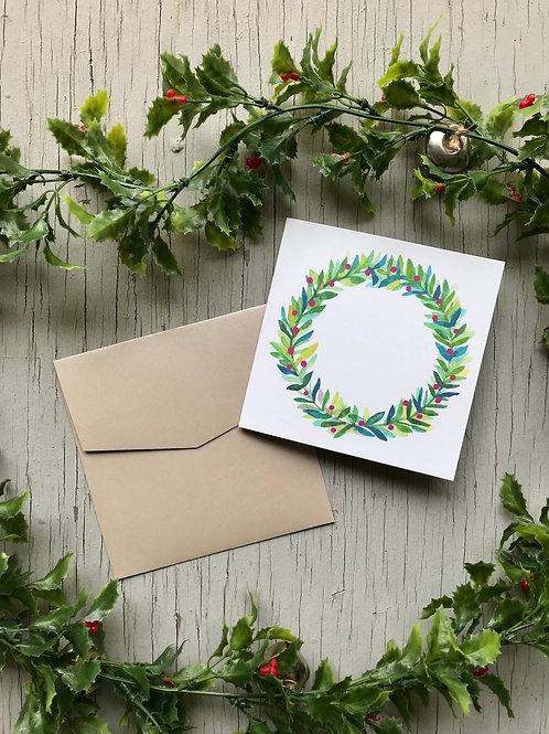 Christmas Wreath Card | Customisable