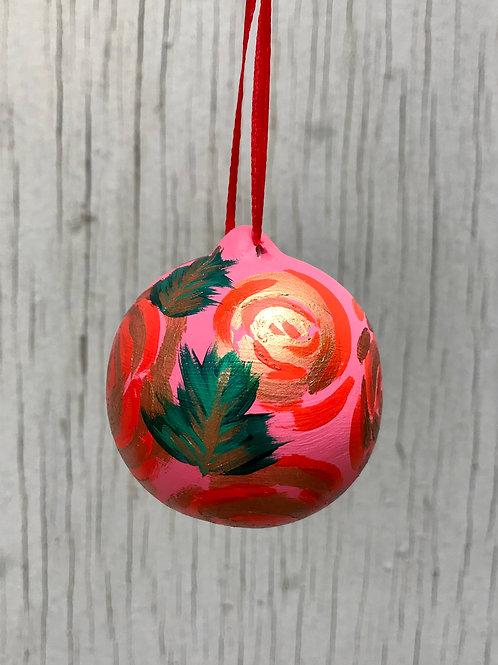 'Roses' Pink Ceramic Ornament