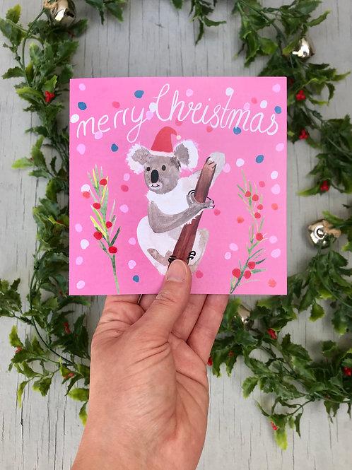 Koala Christmas Card - Pink