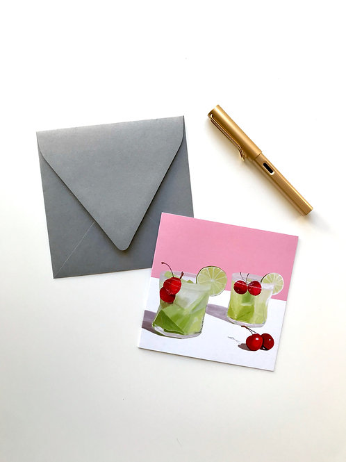 Green Cocktail Greeting Card