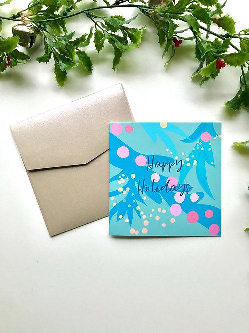 Light Blue & Pink Happy Holidays Card