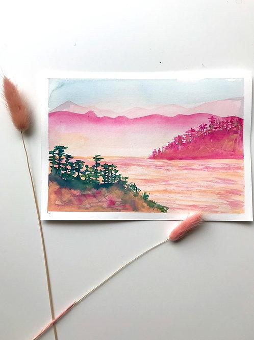 Two Mornings II (pink) Original Painting