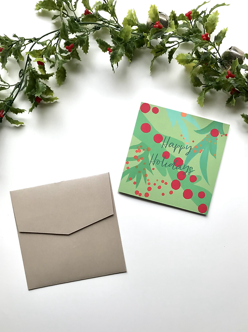Green & Red Happy Holidays Card